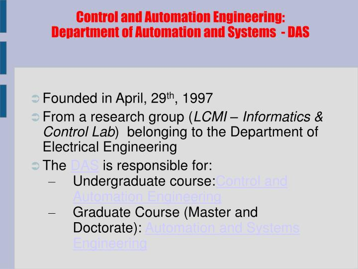 Control and Automation Engineering: