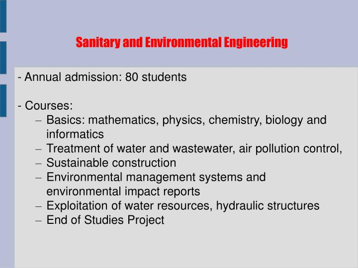 Sanitary and Environmental Engineering