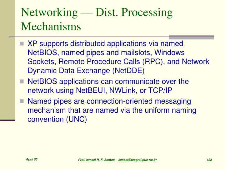 Networking — Dist. Processing Mechanisms