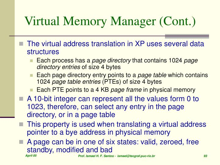 Virtual Memory Manager (Cont.)