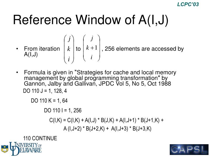 Reference Window of A(I,J)