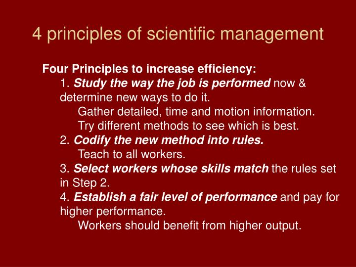 4 principles of scientific management