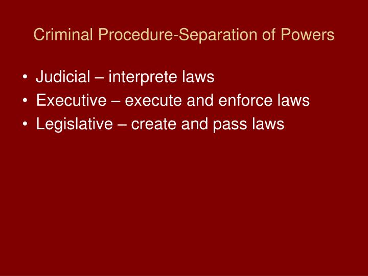 Criminal Procedure-Separation of Powers