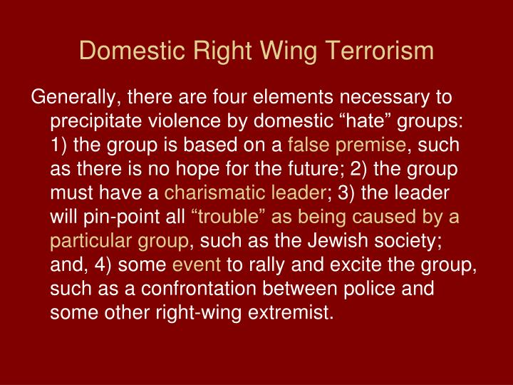 Domestic Right Wing Terrorism