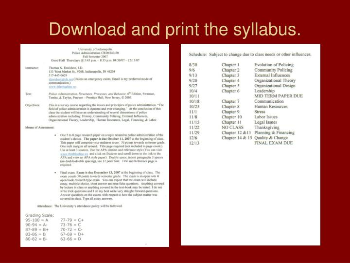 Download and print the syllabus.
