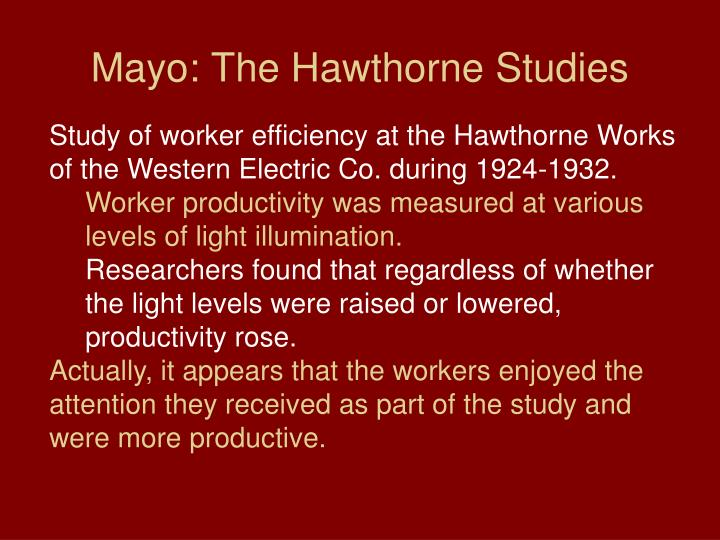 Mayo: The Hawthorne Studies