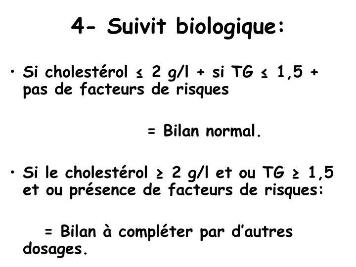 4- Suivit biologique:
