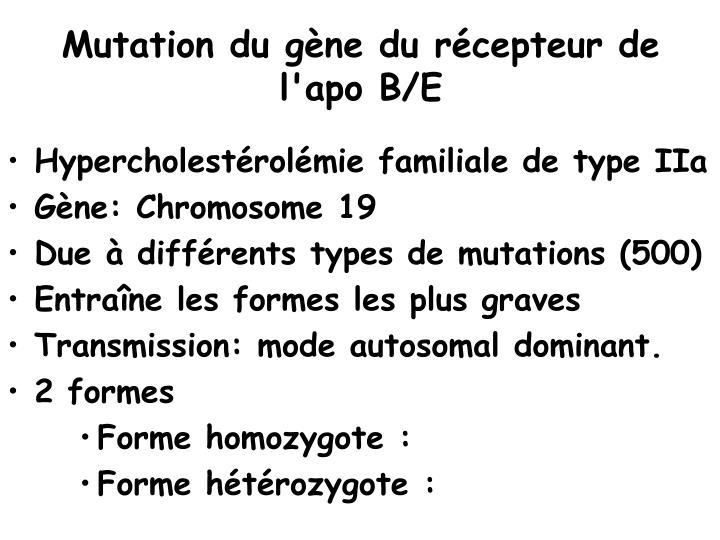Mutation du gène du récepteur de l'apo B/E