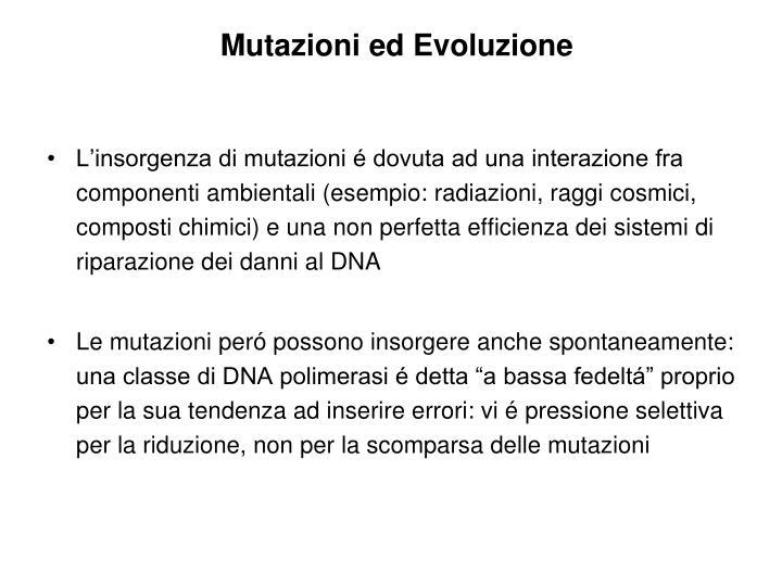 Mutazioni ed Evoluzione