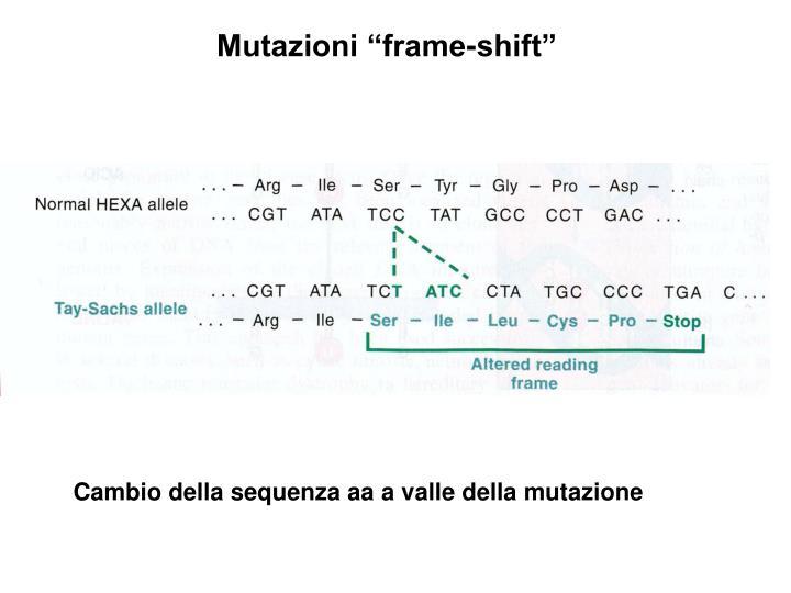 """Mutazioni """"frame-shift"""""""