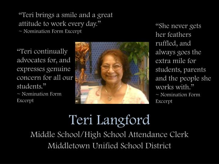 Teri langford middle school high school attendance clerk middletown unified school district