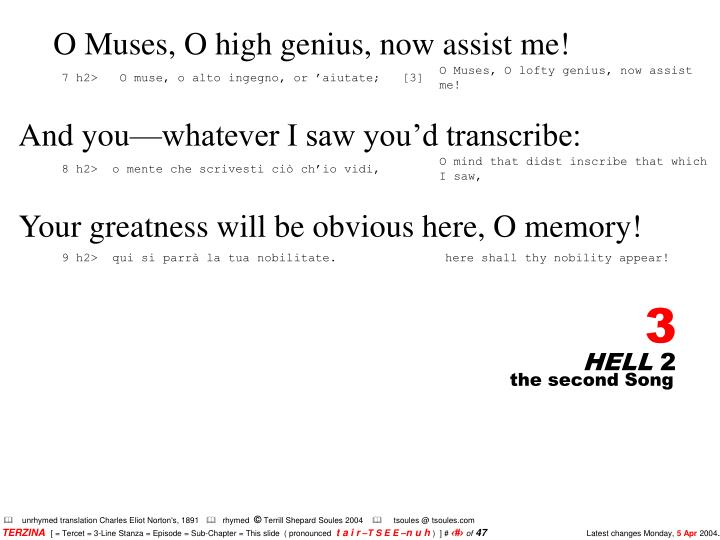 O Muses, O high genius, now assist me!