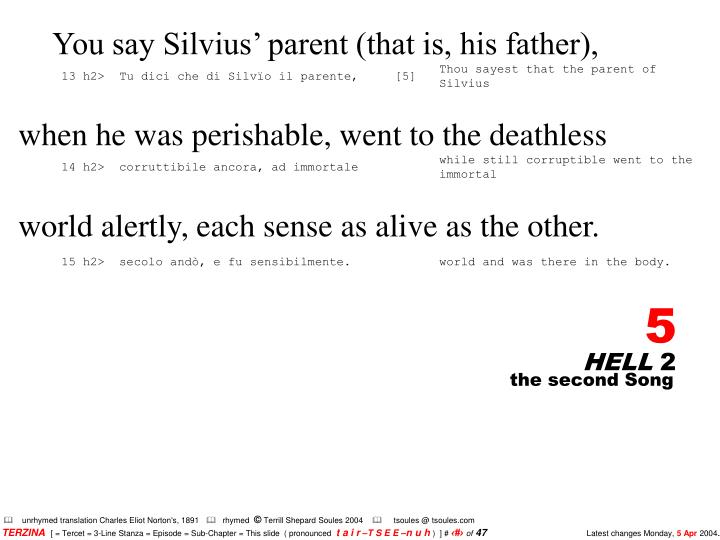You say Silvius' parent (that is, his father),