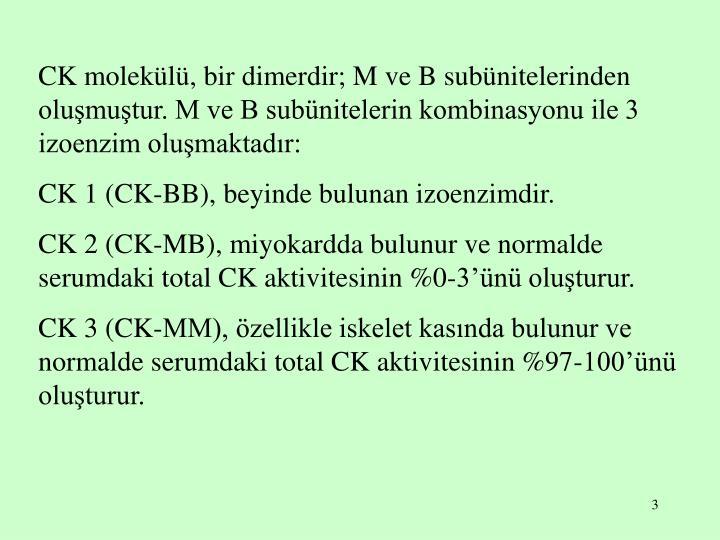 CK molekülü, bir dimerdir; M ve B subünitelerinden oluşmuştur. M ve B subünitelerin kombinasyonu ile 3 izoenzim oluşmaktadır: