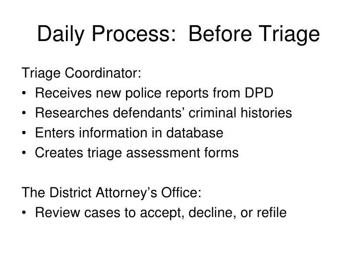 Daily Process:  Before Triage