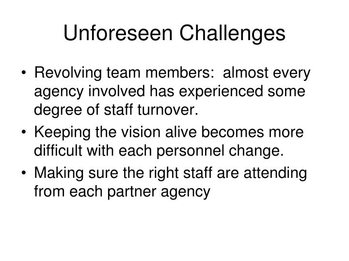 Unforeseen Challenges