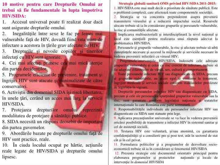 10 motive pentru care Drepturile Omului ar trebui să fie fundamentale în lupta împotriva HIV/SIDA: