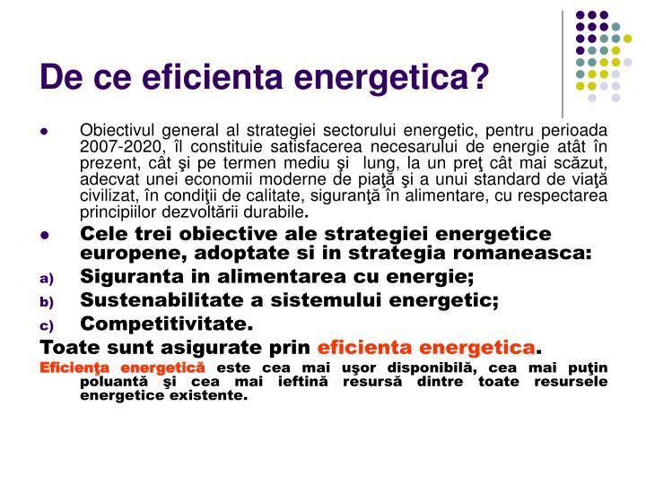 De ce eficienta energetica?
