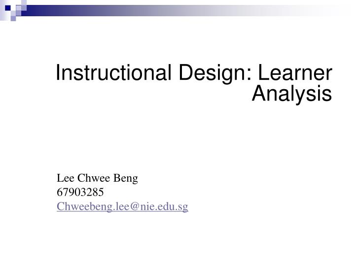 Instructional design learner analysis