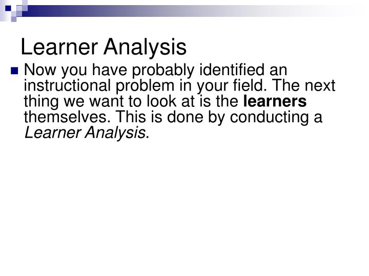 Learner analysis