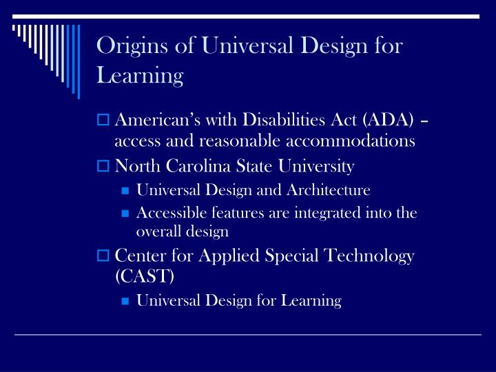 Origins of Universal Design for Learning