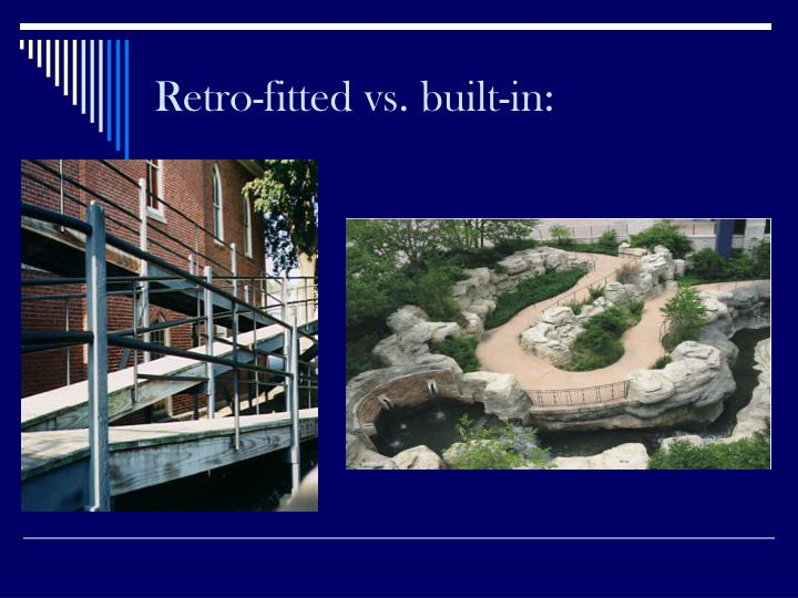 Retro-fitted vs. built-in: