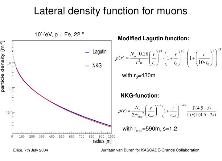 Lateral density function for muons