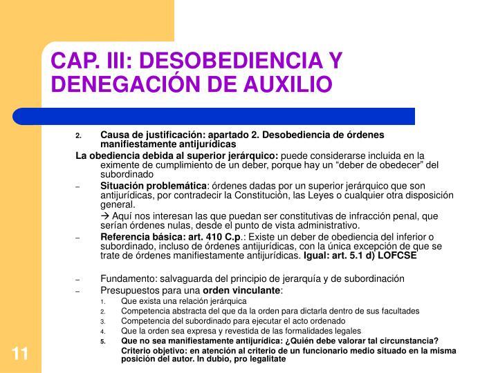 CAP. III: DESOBEDIENCIA Y DENEGACIÓN DE AUXILIO