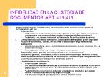 infidelidad en la custodia de documentos art 413 416