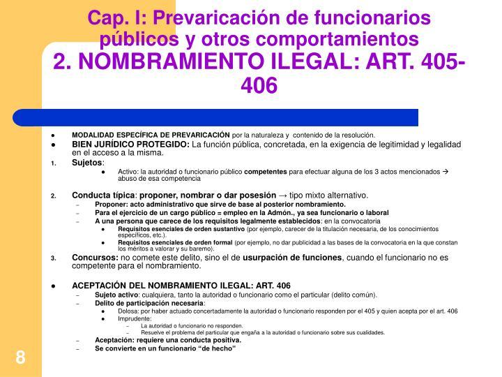 Cap. I: Prevaricación de funcionarios públicos y otros comportamientos