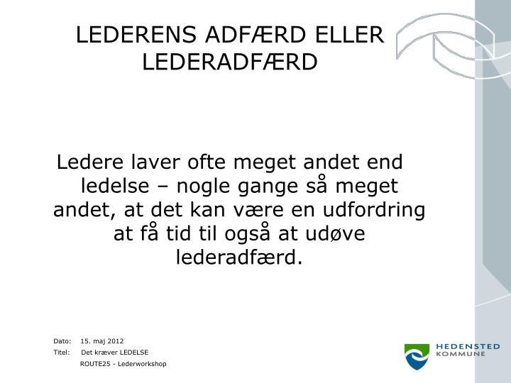 LEDERENS ADFÆRD ELLER LEDERADFÆRD