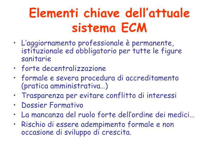 Elementi chiave dell'attuale sistema ECM