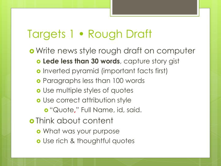 Targets 1 • Rough Draft