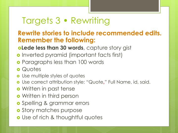 Targets 3 • Rewriting