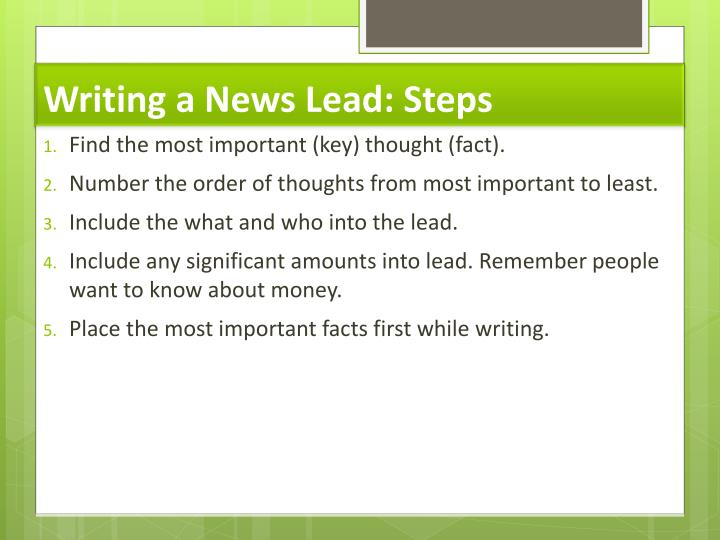 Writing a News Lead: Steps