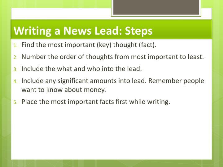 Writing a News Lead: Steps