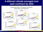 a different climate averaged over each continent by 2050