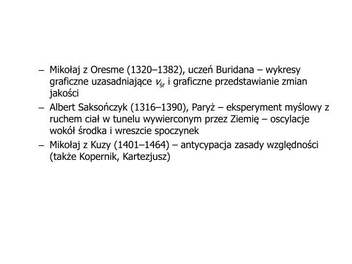 Mikołaj z Oresme (1320–1382), uczeń Buridana – wykresy graficzne uzasadniające