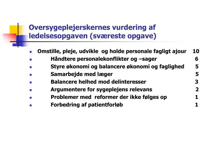 Oversygeplejerskernes vurdering af ledelsesopgaven (sværeste opgave)