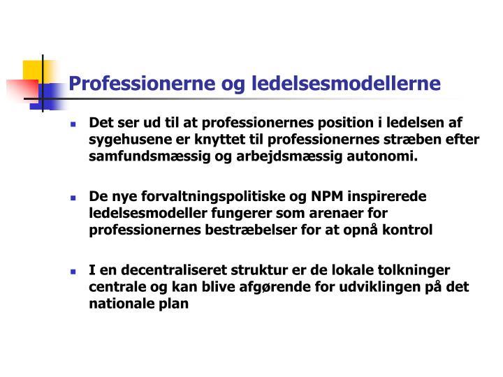 Professionerne og ledelsesmodellerne