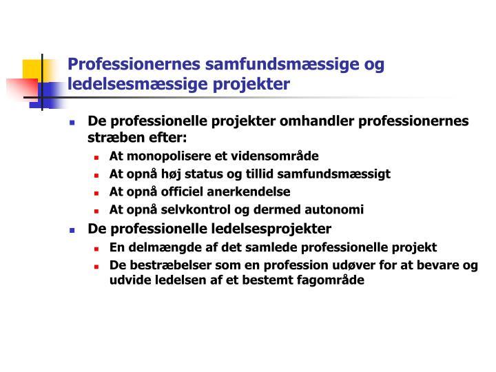 Professionernes samfundsmæssige og ledelsesmæssige projekter