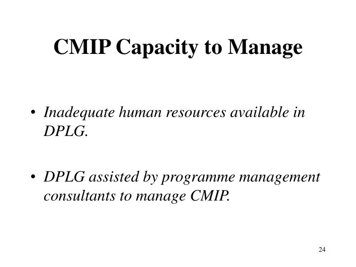 CMIP Capacity to Manage