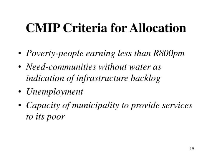 CMIP Criteria for Allocation