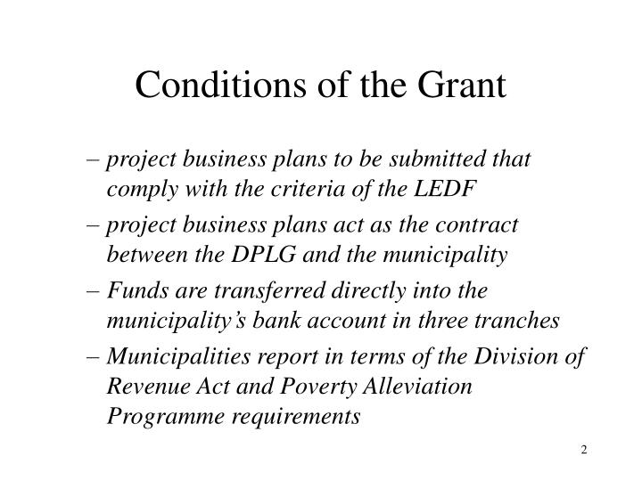 Conditions of the Grant