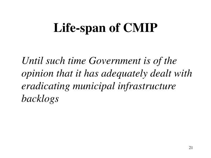 Life-span of CMIP