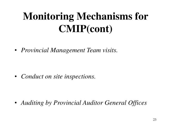 Monitoring Mechanisms for CMIP(cont)