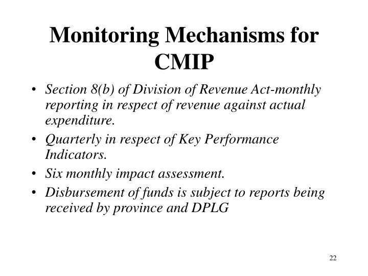 Monitoring Mechanisms for CMIP