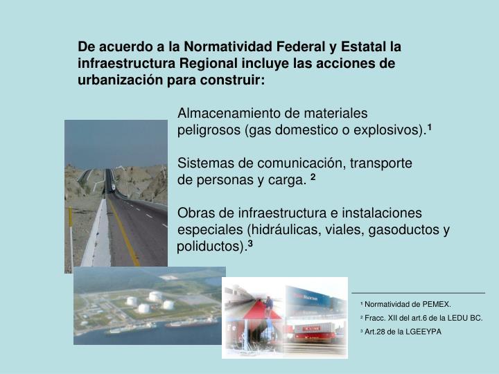 De acuerdo a la Normatividad Federal y Estatal la infraestructura Regional incluye las acciones de urbanización para construir: