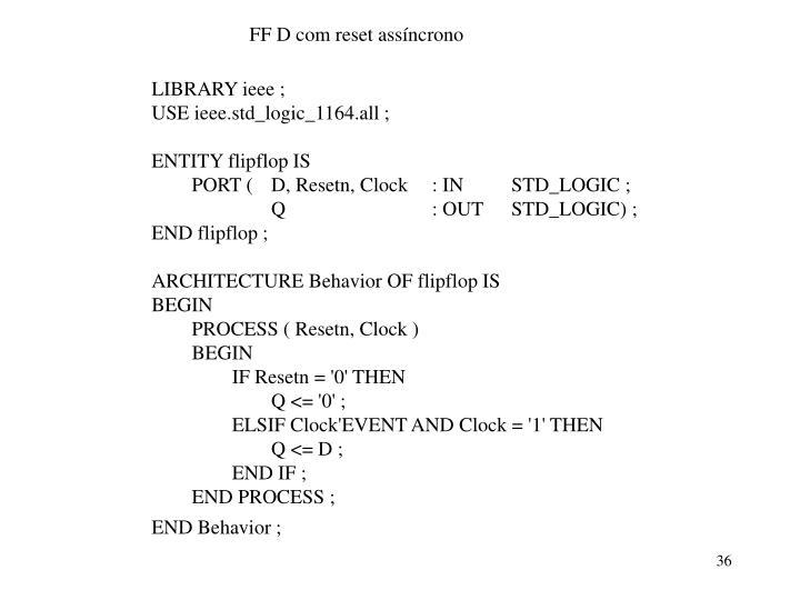 FF D com reset assíncrono