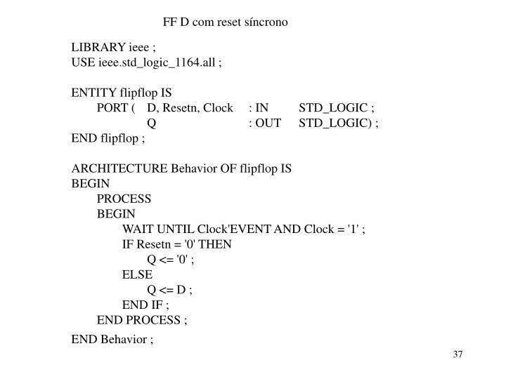 FF D com reset síncrono